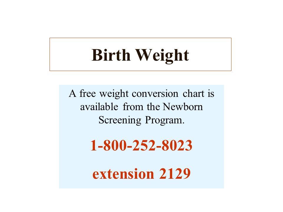 Birth Weight 1-800-252-8023 extension 2129