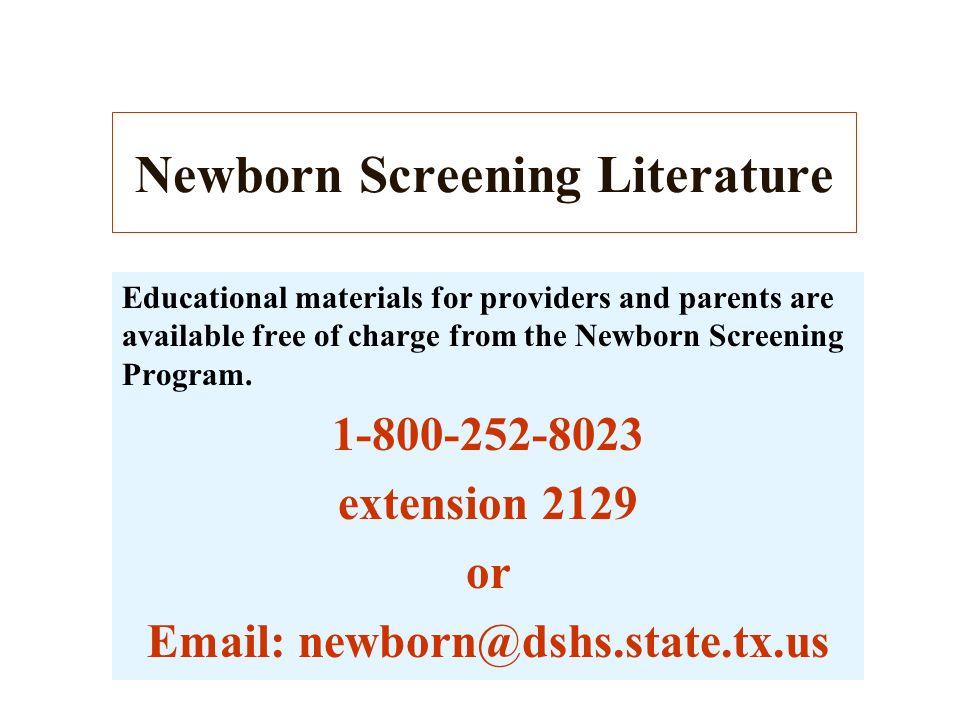 Newborn Screening Literature