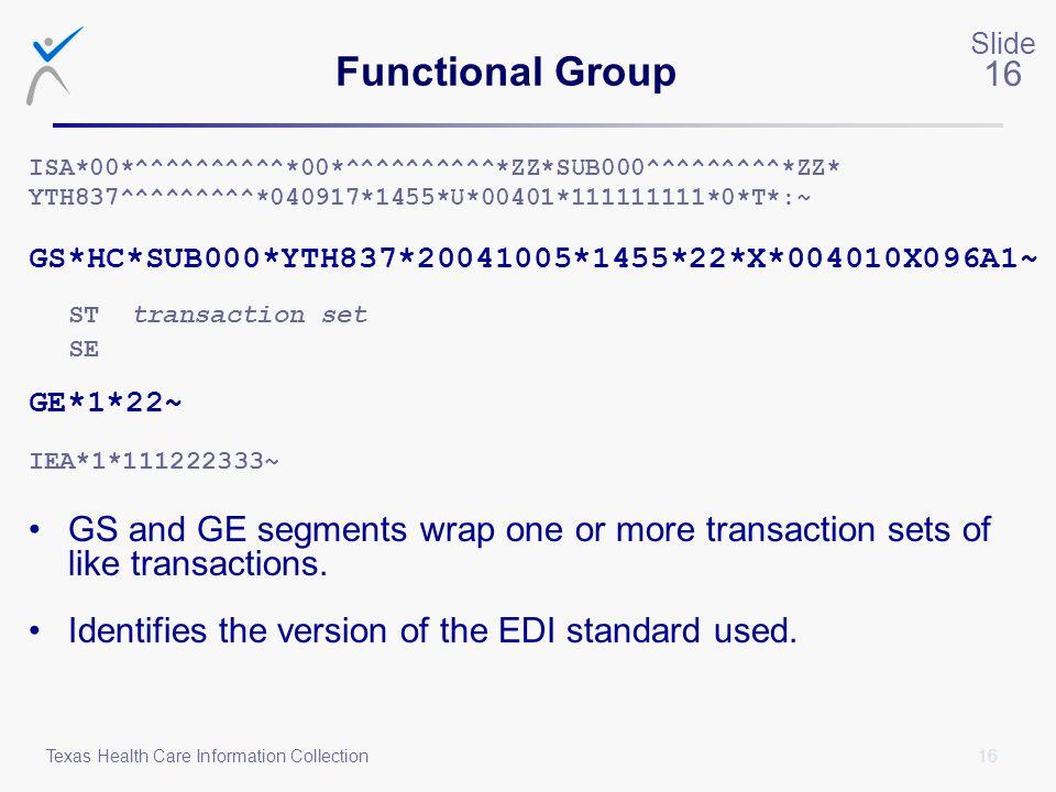 Functional Group ST transaction set