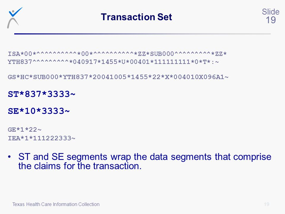 Transaction Set ST*837*3333~ SE*10*3333~
