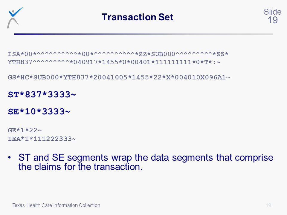 Transaction Set ST*837*3333~ SE*10*3333~