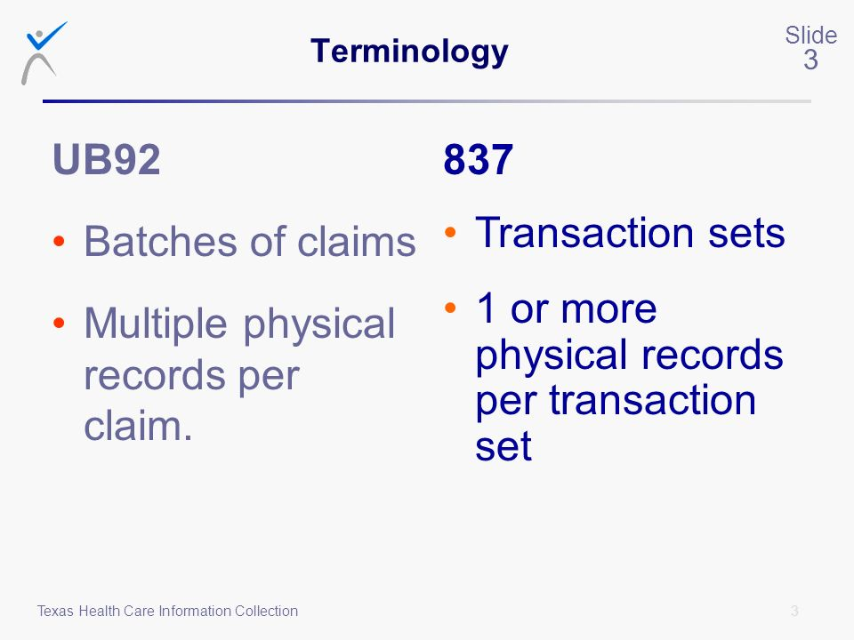 Multiple physical records per claim. 837 Transaction sets