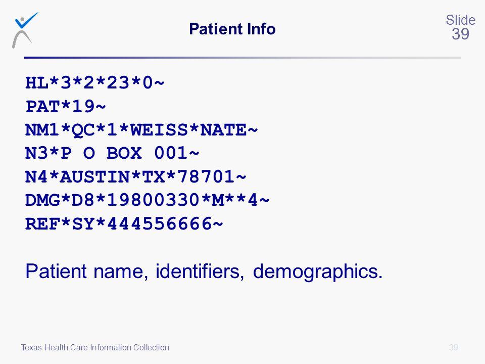 Patient name, identifiers, demographics.
