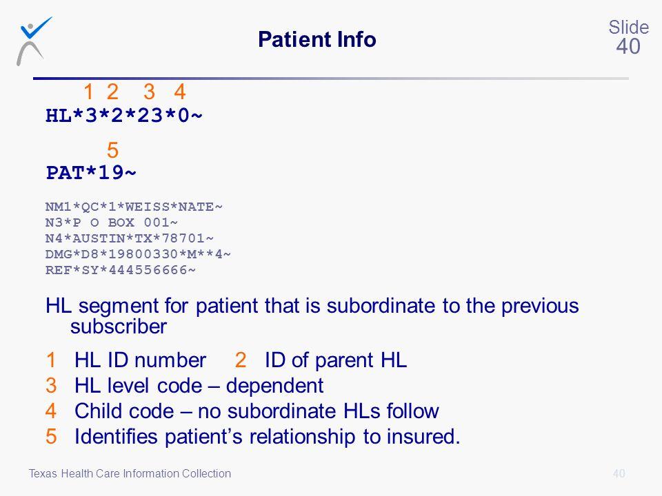 Patient Info HL*3*2*23*0~ 5 PAT*19~
