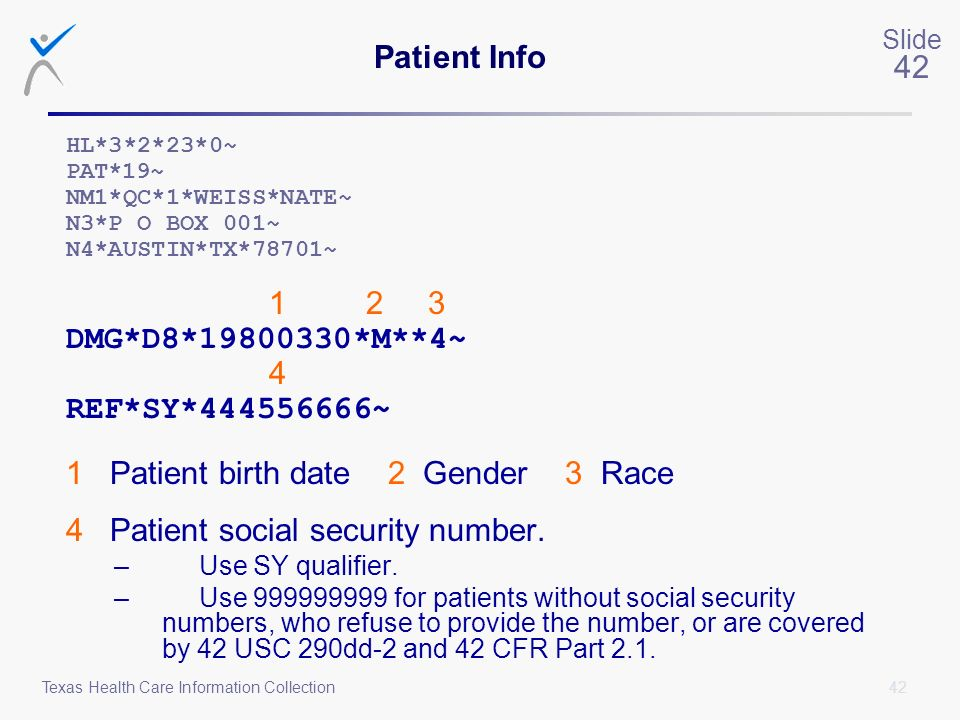 1 Patient birth date 2 Gender 3 Race 4 Patient social security number.