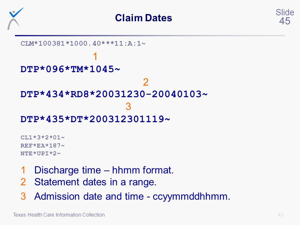 Claim Dates CLM*100381*1000.40***11:A:1~ 1. DTP*096*TM*1045~ 2. DTP*434*RD8*20031230-20040103~ 3.