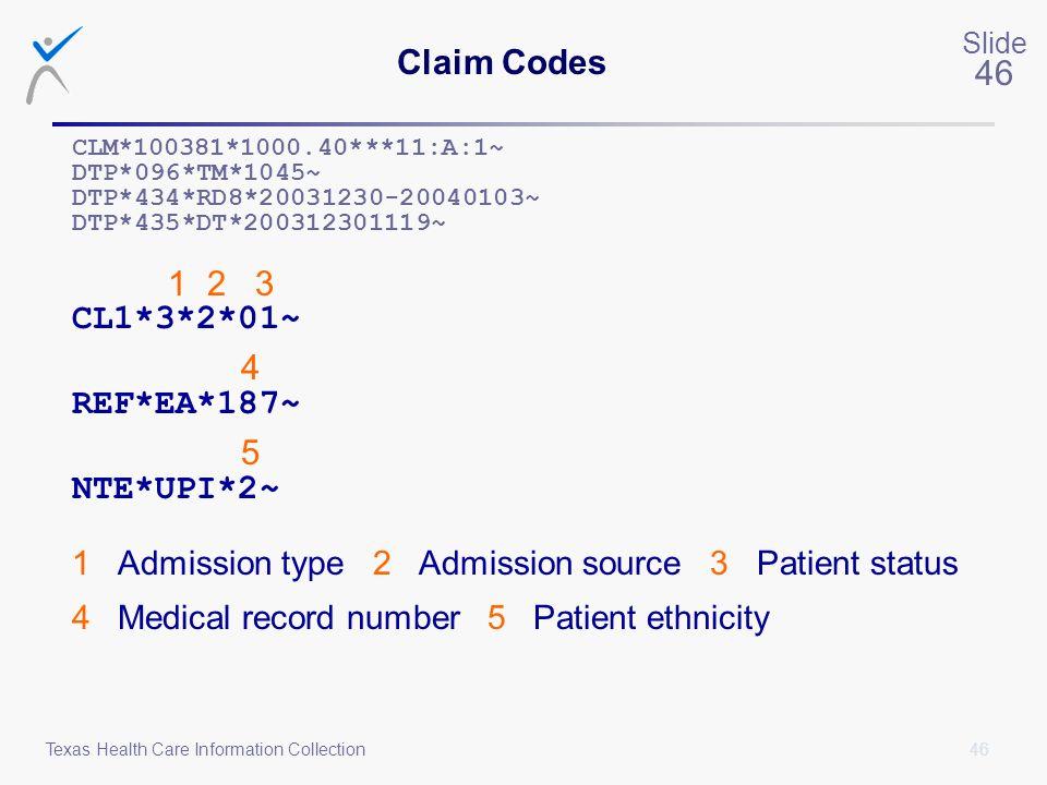 4 5 Claim Codes 1 2 3 CL1*3*2*01~ REF*EA*187~ NTE*UPI*2~