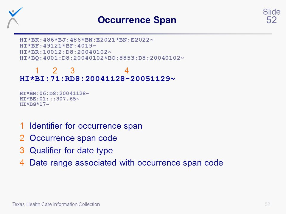 Occurrence Span 1 Identifier for occurrence span