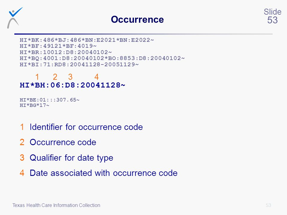Occurrence 1 Identifier for occurrence code 2 Occurrence code