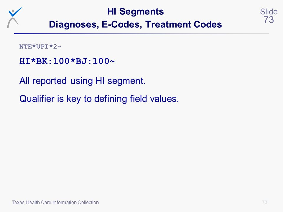 HI Segments Diagnoses, E-Codes, Treatment Codes