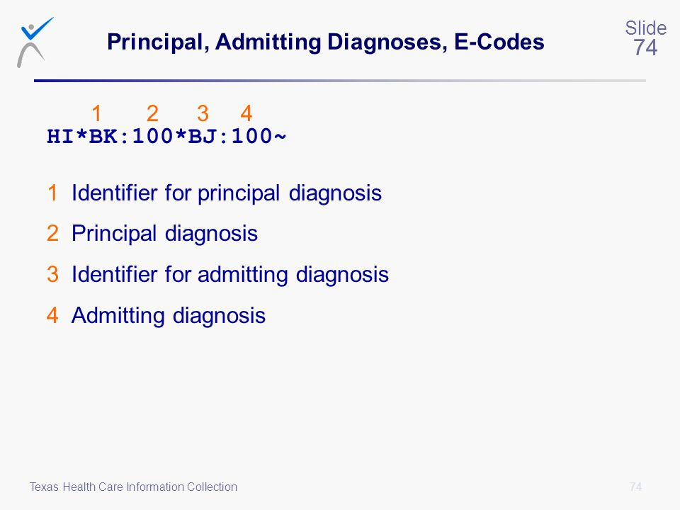 Principal, Admitting Diagnoses, E-Codes
