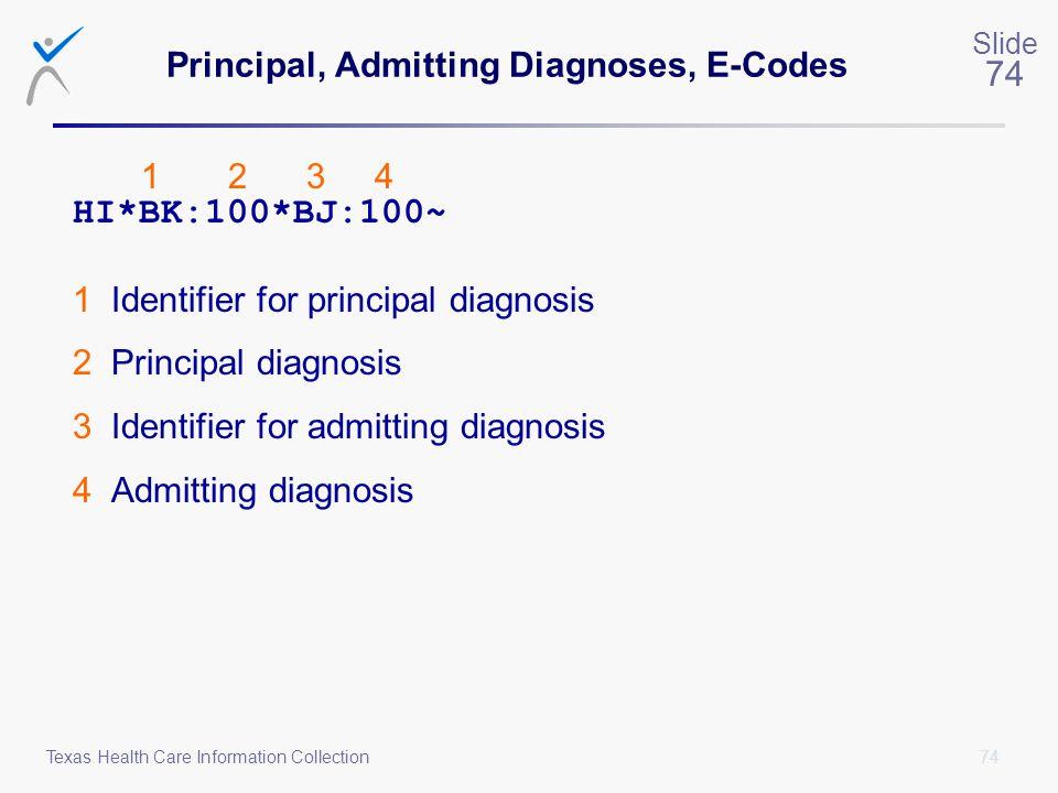 Principal, Admitting Diagnoses, E-Codes