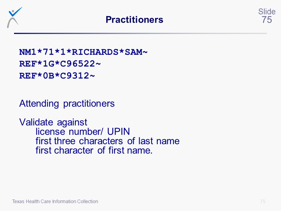 Attending practitioners Validate against license number/ UPIN