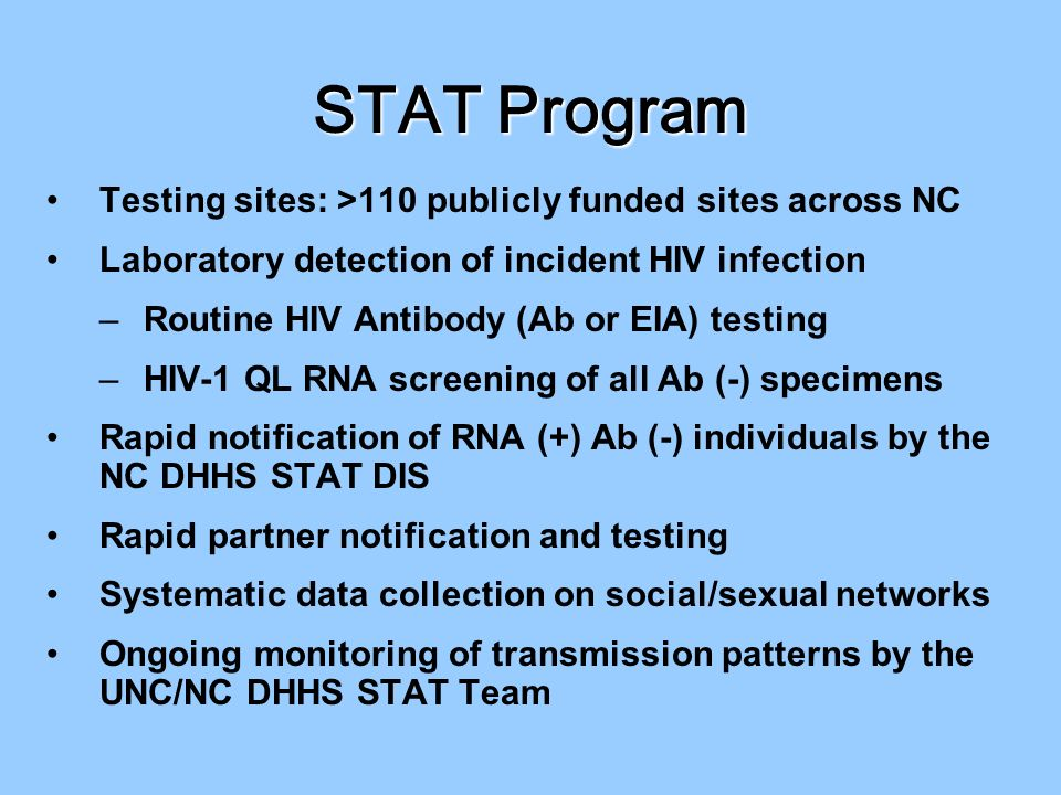 STAT Program Testing sites: >110 publicly funded sites across NC