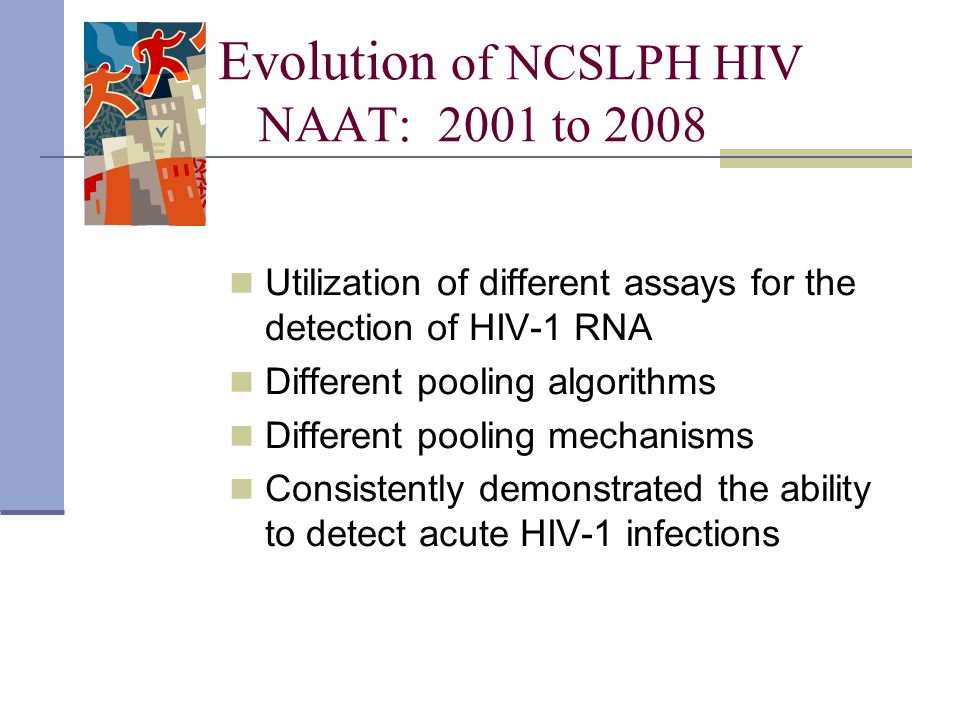 Evolution of NCSLPH HIV NAAT: 2001 to 2008