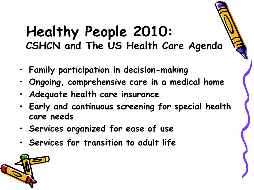 Healthy People 2010: CSHCN and The US Health Care Agenda