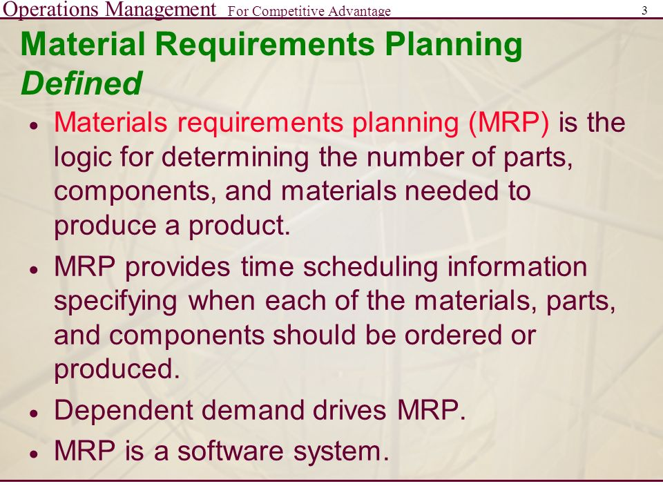 Material Requirements Planning Ppt Video Online Download