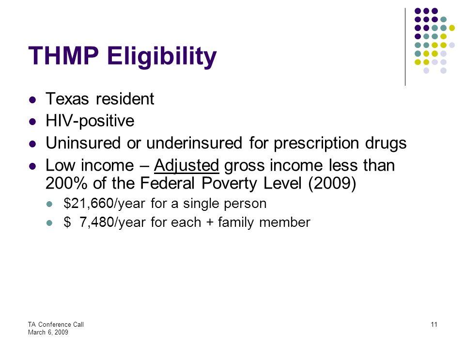 THMP Eligibility Texas resident HIV-positive