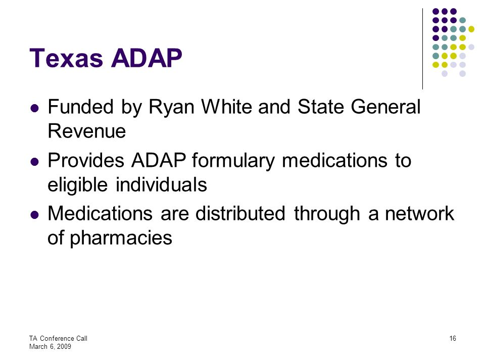 Texas ADAP Funded by Ryan White and State General Revenue