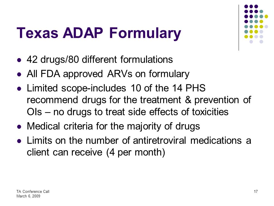Texas ADAP Formulary 42 drugs/80 different formulations