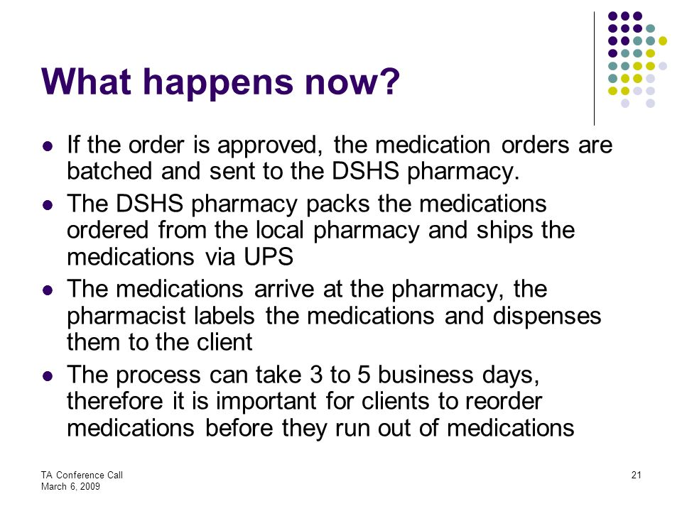 What happens now If the order is approved, the medication orders are batched and sent to the DSHS pharmacy.