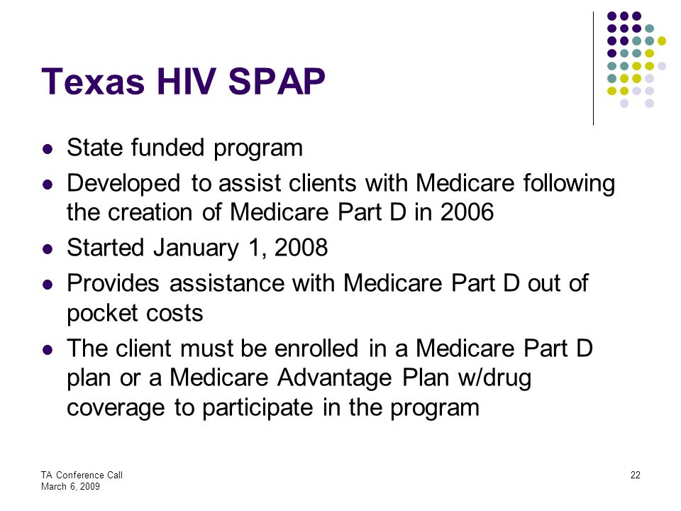 Texas HIV SPAP State funded program