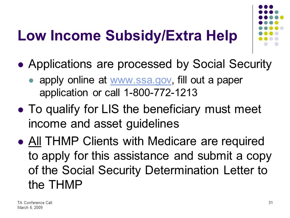 Low Income Subsidy/Extra Help
