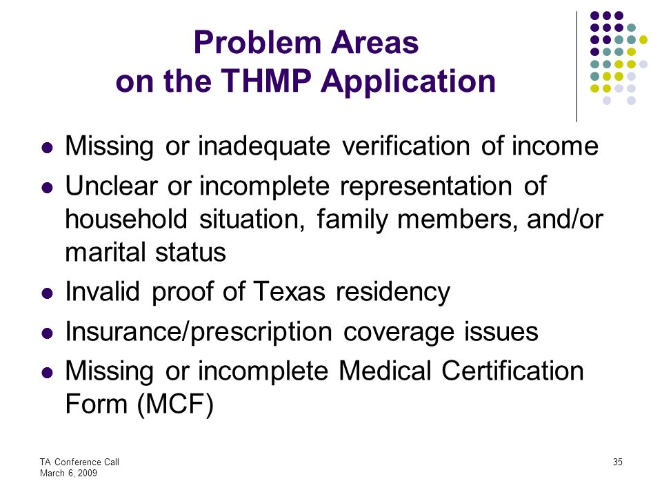Problem Areas on the THMP Application
