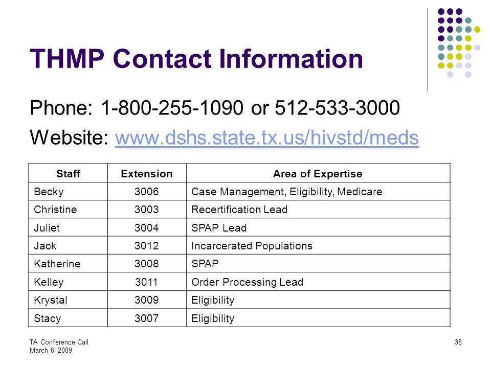 THMP Contact Information Phone: or Website: