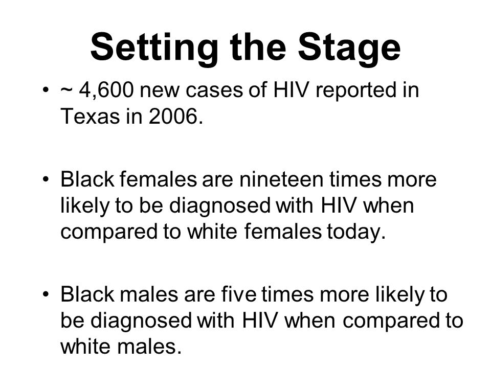 Setting the Stage ~ 4,600 new cases of HIV reported in Texas in 2006.