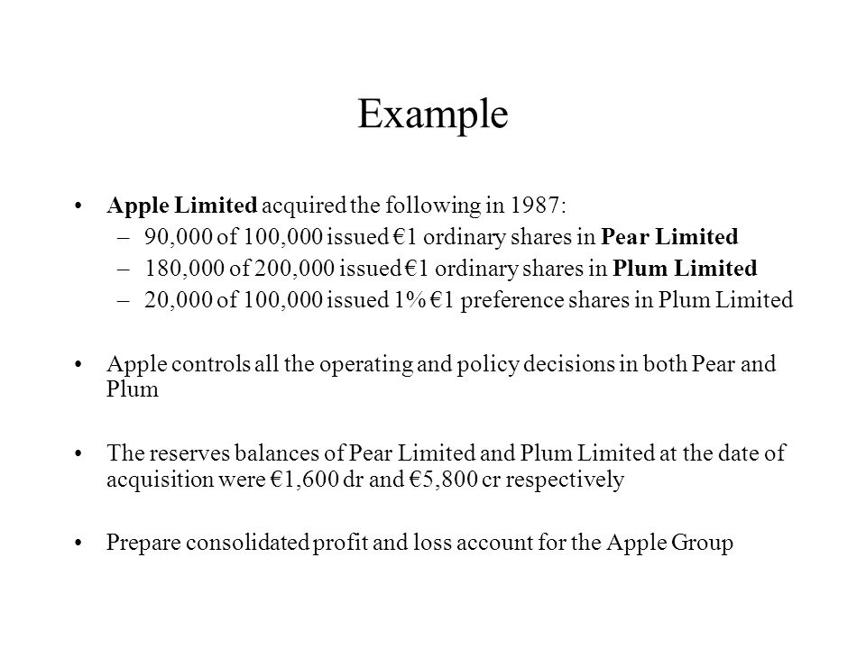 Example Apple Limited acquired the following in 1987: