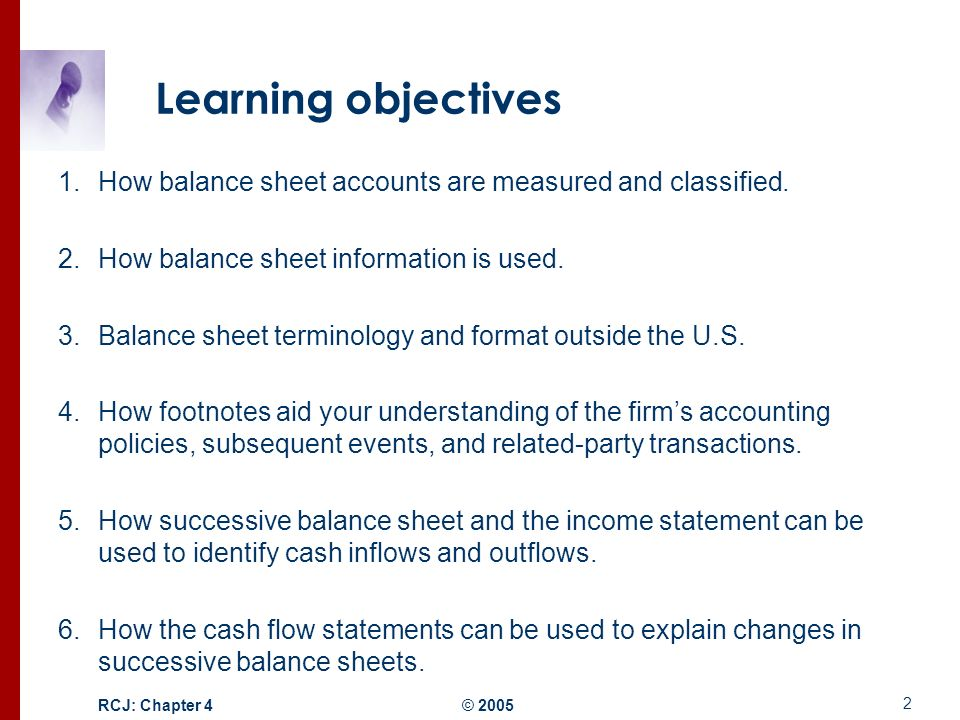 Structure Of The Balance Sheet And Statement Of Cash Flows  Ppt