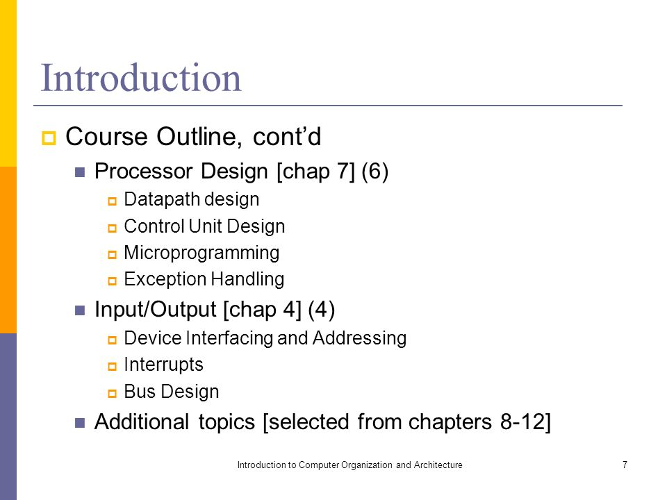 introduction to computer organization and Introduction1 computer organization & architecture lecture 01: introduction [ adapted from computer organization and design, patterson & hennessy.