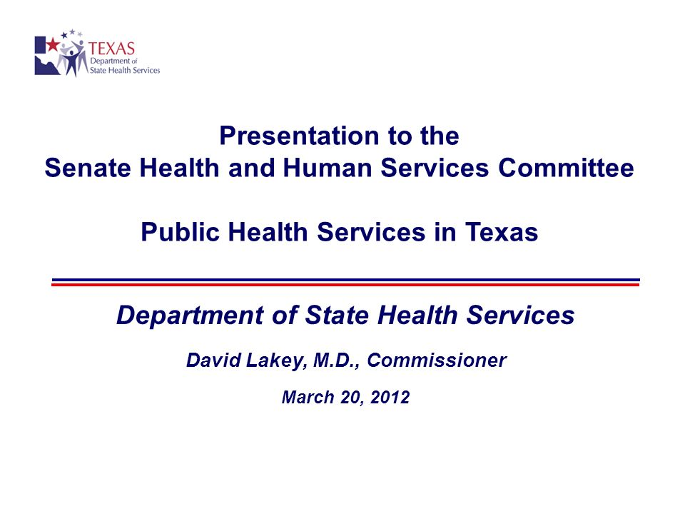 Presentation to the Senate Health and Human Services Committee