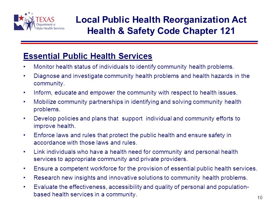 Local Public Health Reorganization Act Health & Safety Code Chapter 121