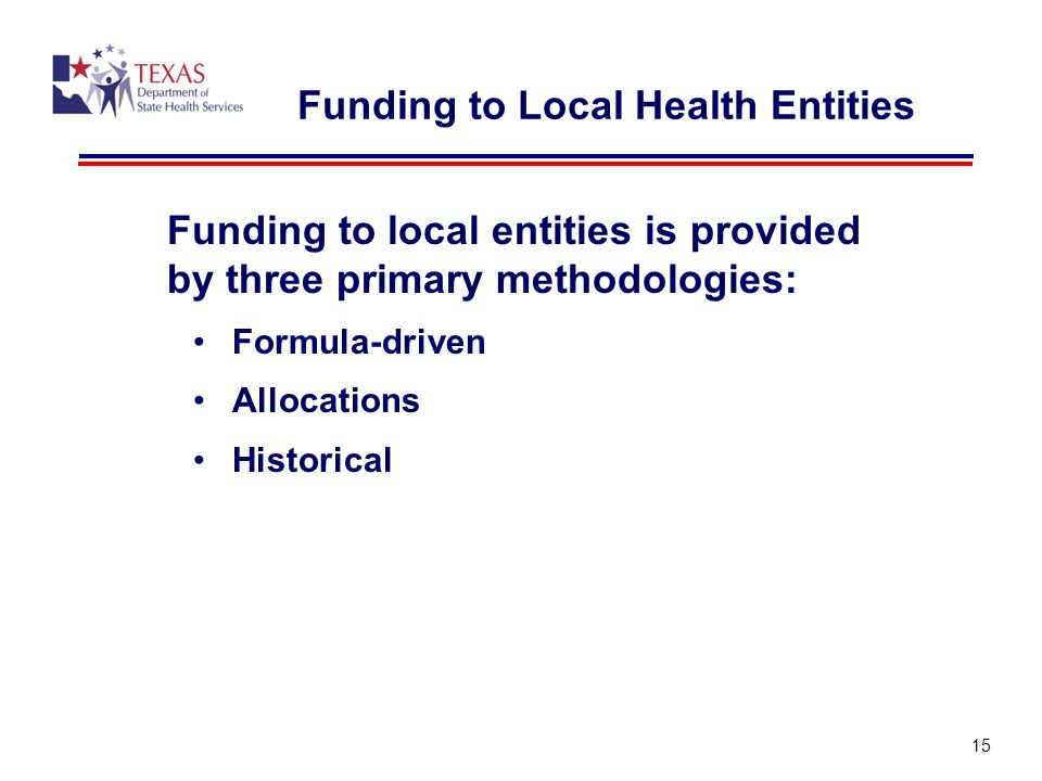 Funding to Local Health Entities