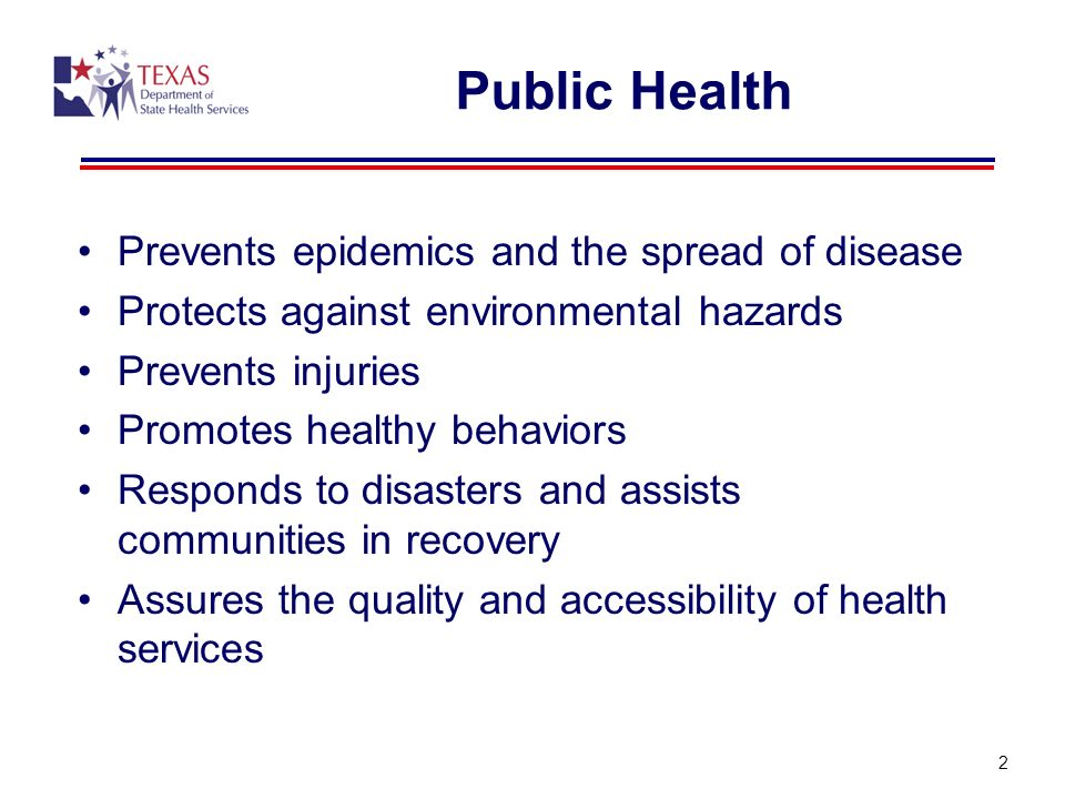Public Health Prevents epidemics and the spread of disease