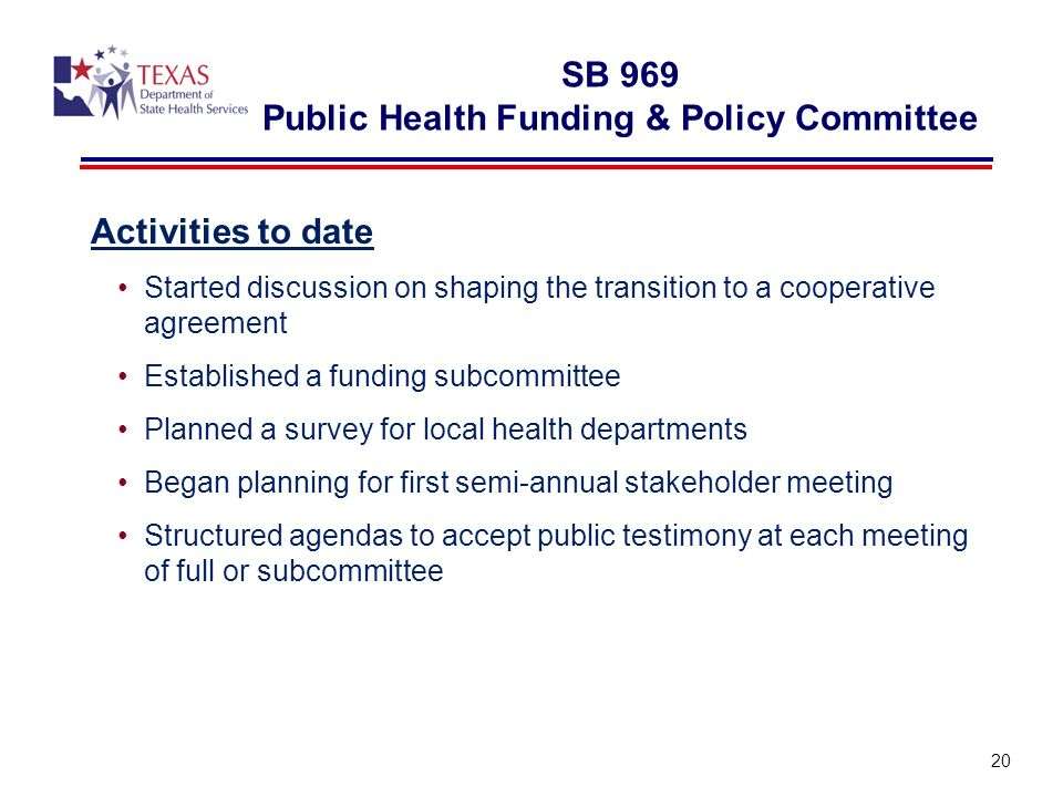 SB 969 Public Health Funding & Policy Committee