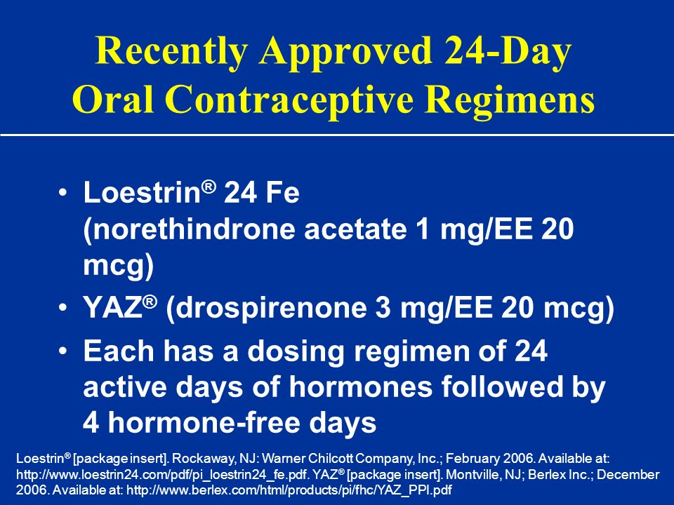 Recently Approved 24-Day Oral Contraceptive Regimens