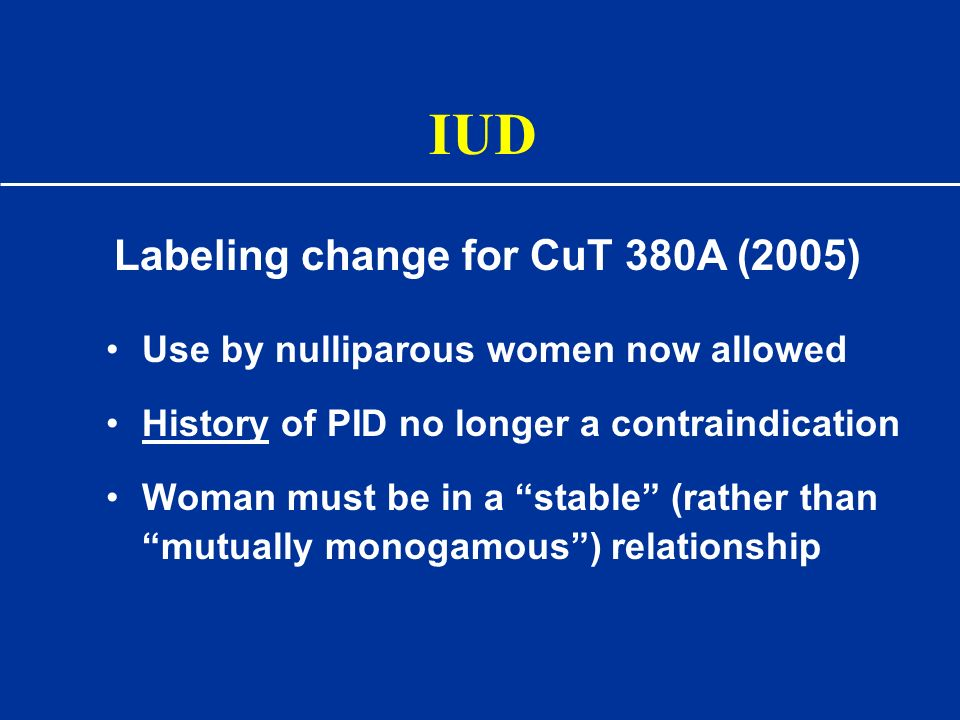 IUD Labeling change for CuT 380A (2005)