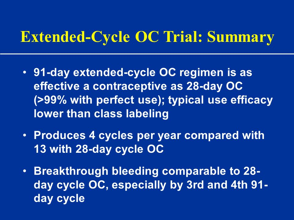 Extended-Cycle OC Trial: Summary