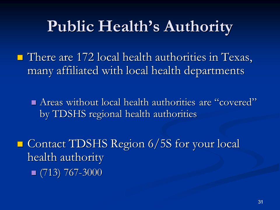 Public Health's Authority