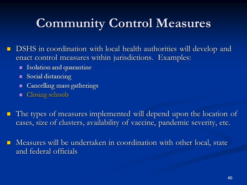 Community Control Measures