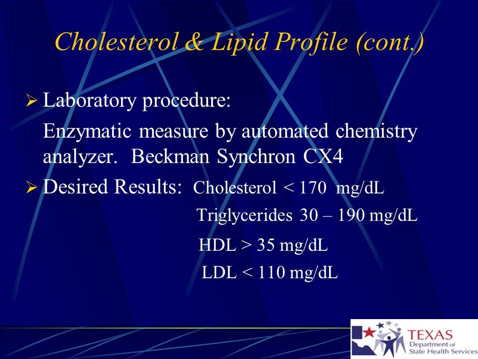 Cholesterol & Lipid Profile (cont.)
