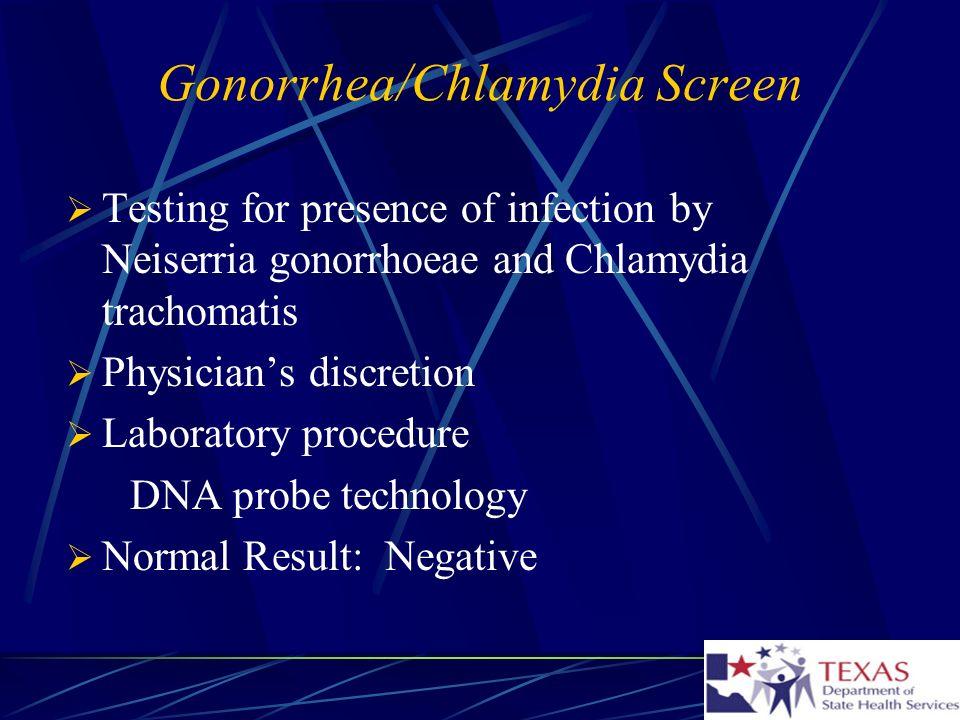 Gonorrhea/Chlamydia Screen