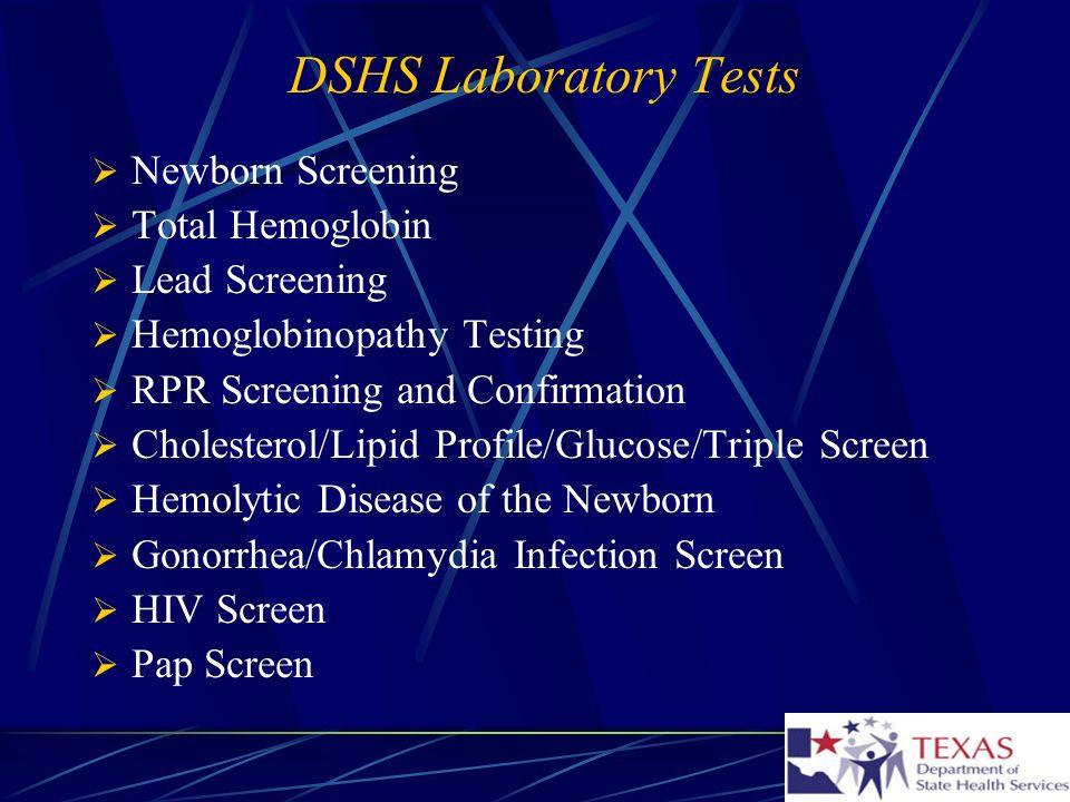 DSHS Laboratory Tests Newborn Screening Total Hemoglobin
