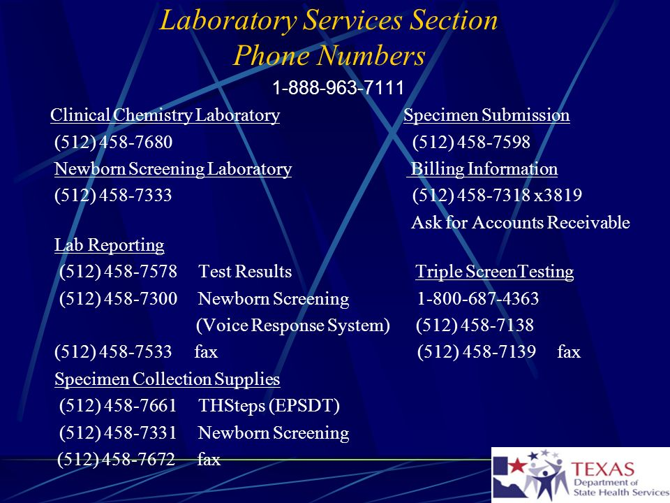 Laboratory Services Section Phone Numbers
