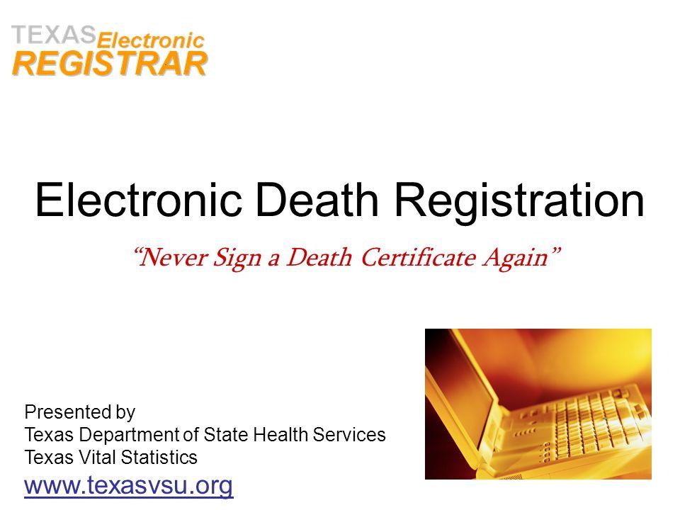 Electronic Death Registration