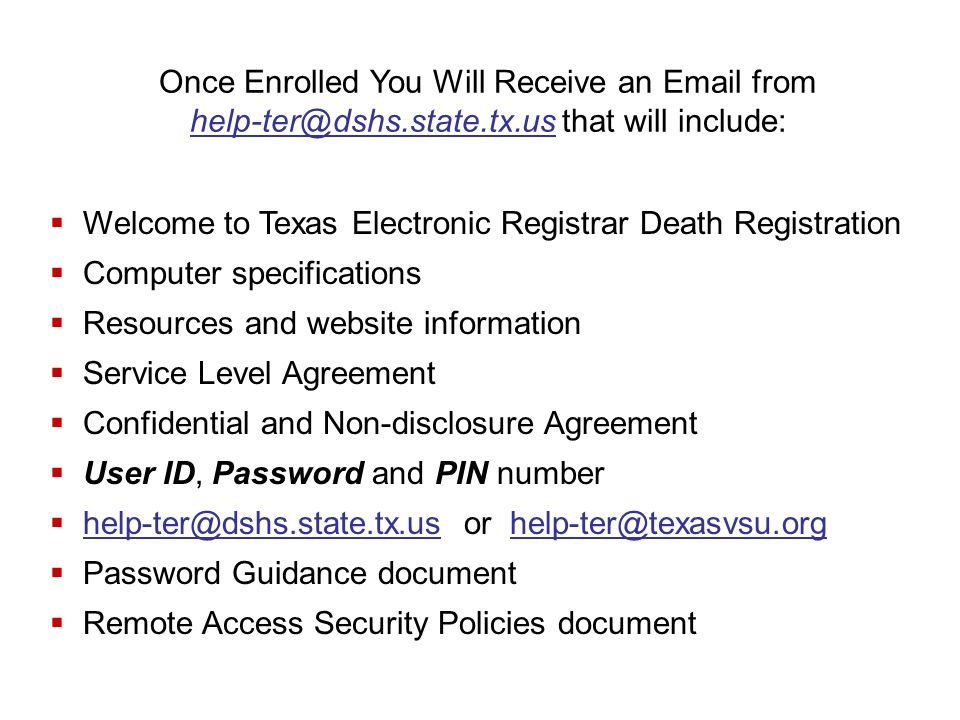 Welcome to Texas Electronic Registrar Death Registration