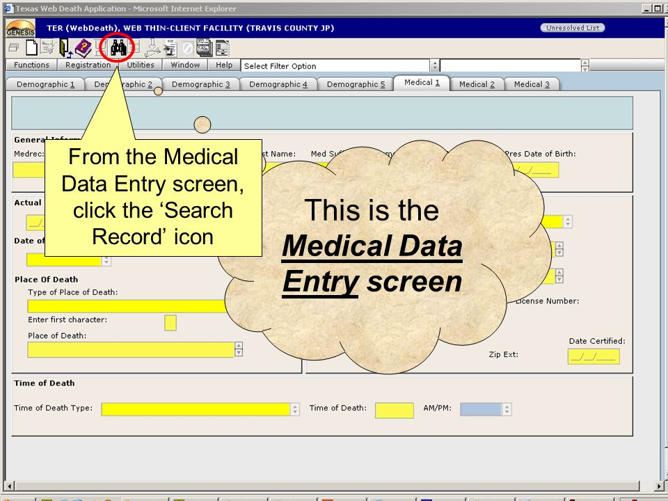 This is the Medical Data Entry screen Let's retrieve the record.